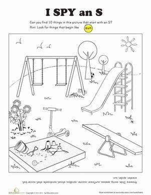 Preschool Phonics Coloring Letter S Worksheets: I Spy Letter S Worksheet