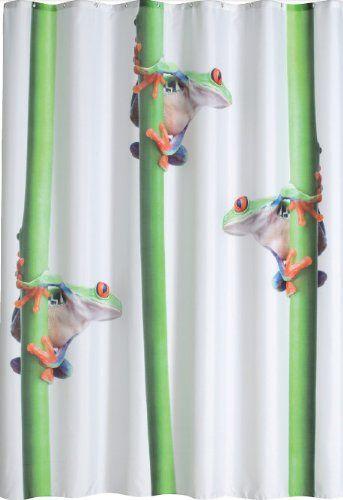 DUSCHVORHANG FROGS 180cm breit x 200cm lang Textil ohne Ringe wei� gr�n orange Frosch an Bambus shower curtain