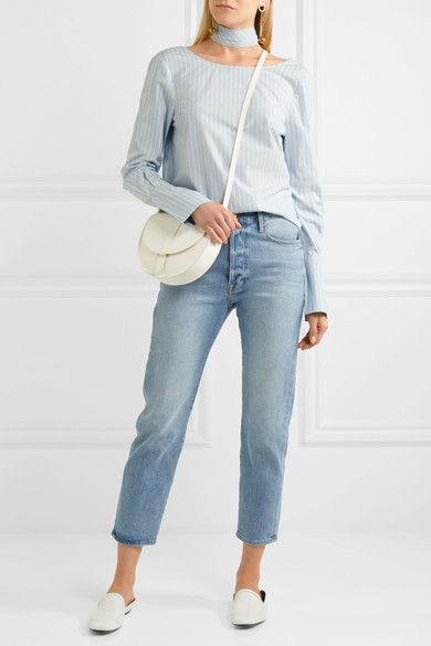 Sky-blue and white cotton-poplin Button fastenings through back 100% cotton Machine wash or dry clean