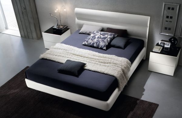 Floating bed upholstered in chic eco leather for the environmentally conscious…