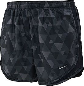 NIKE PRINTED TEMPO RUNNING SHORTS IN BLACK/GREY