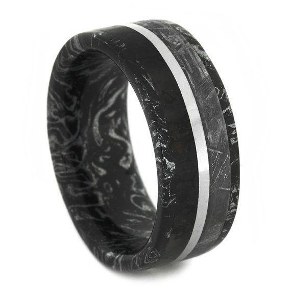 Dinosaur Bone and Gibeon Meteorite Ring with Black and White Mokume Gane Sleeve Rare and Unique