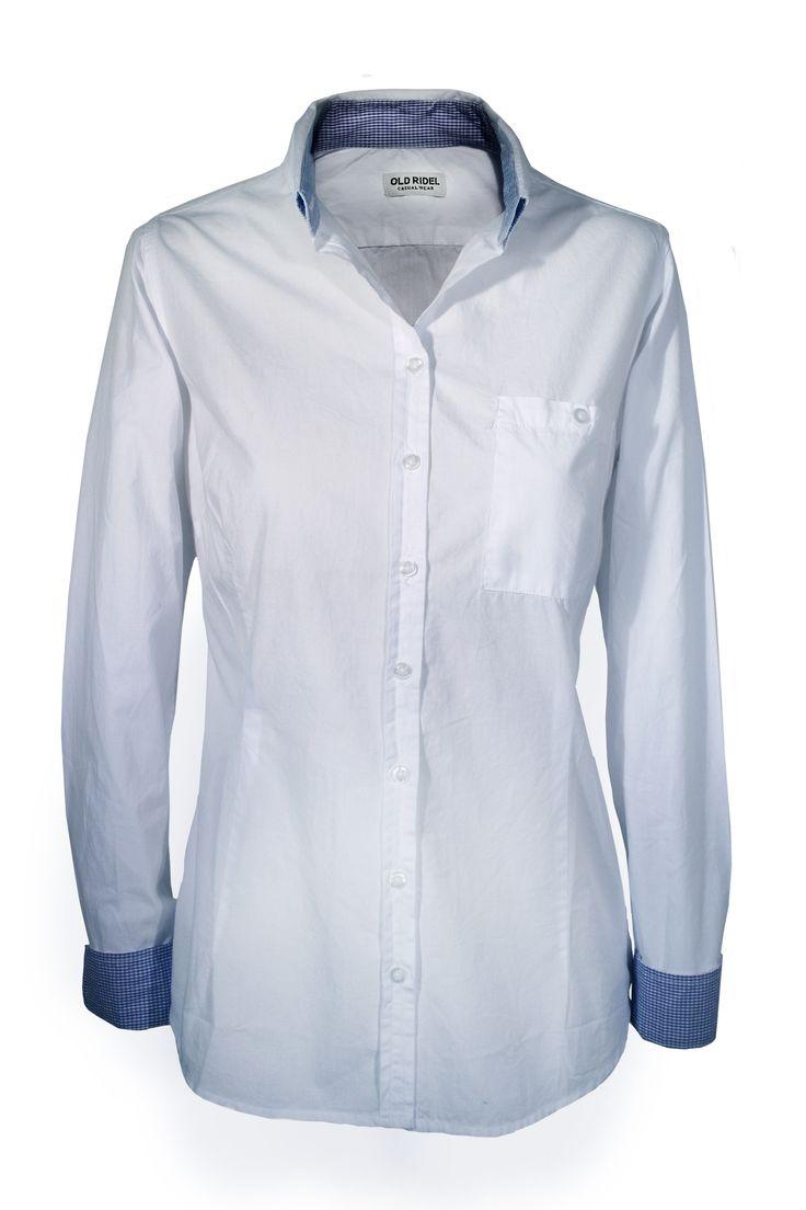 Camisa mujer blanca popelín con detalles en el cuello y puños cuadros vichy azul cielo. www.oldridel.com