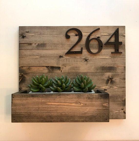 Address Plaque and Planter // Modern Address by SparrowandScout