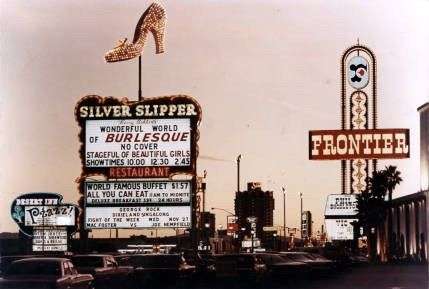 #lasvegas  1968 - The signs for the Frontier, Silver Slipper and Desert Inn at twilight, with the Sands tower in the background.  #vintagevegas  #TBT  #throwbackthursday  #TheLvList  #Bestvegasattractions        Special Collections & Archives, University Libraries, University of Nevada, Las Vegas. Las Vegas, Nevada.