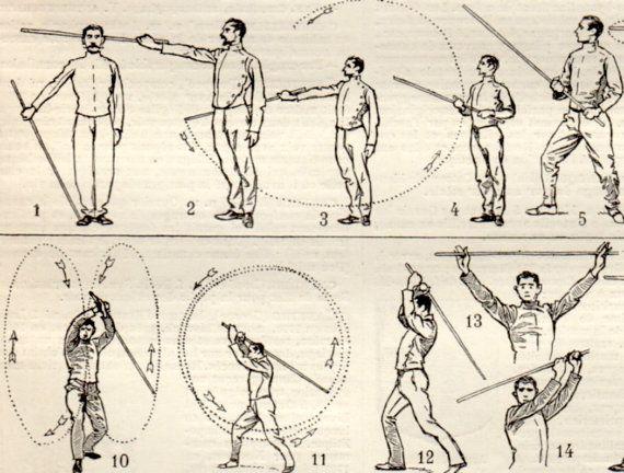 Stick-fighting Canne de combat Antique Print 1897 por Craftissimo