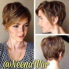 Vrstvené krátke účesy s ofinou: ženské účesy pre husté vlasy