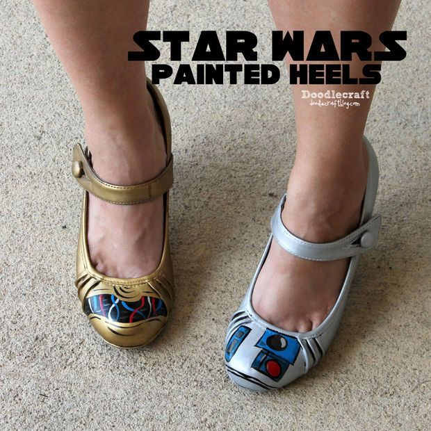 Star Wars painted heels shoes diy c3po and r2d2 droids gold and silver rub 'n buff easy geekery geek chic (1).JPG