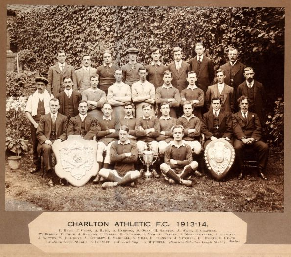 An official photograph of Charlton Athletic Football Club with the Woolwich League Shield and Southern Suburban League Shield, circa 1913. (Photo by Popperfoto/Getty Images)