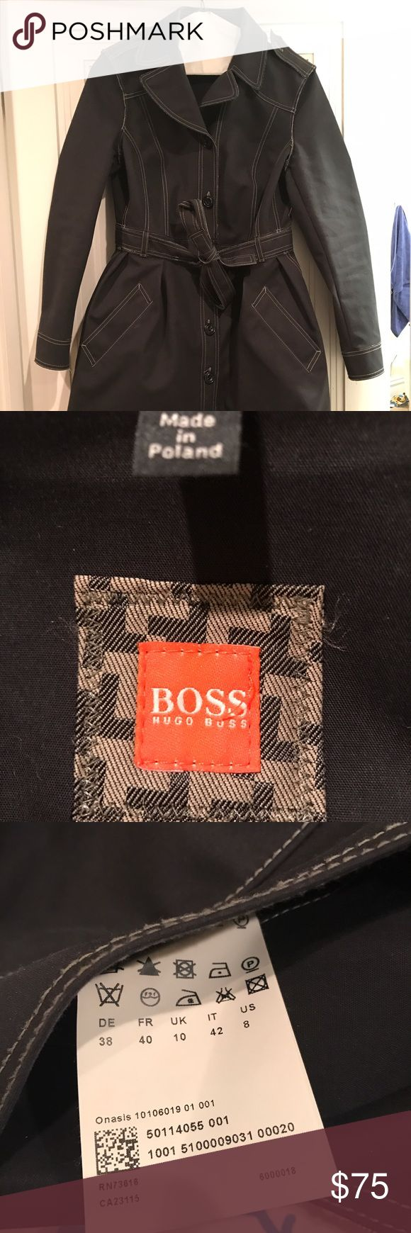 Hugo Boss trench coat Worn once! Bought without trying it on and it doesn't fit right. Missing one button on the left shoulder (see pic) but perfect condition otherwise! Great winter rain/snow jacket! BOSS ORANGE Jackets & Coats