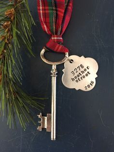 New home ornament, Skeleton Key ornament, First Christmas, Personalized housewarming gift, first home ornament, wedding gift by ancypants on Etsy https://www.etsy.com/listing/170071374/new-home-ornament-skeleton-key-ornament