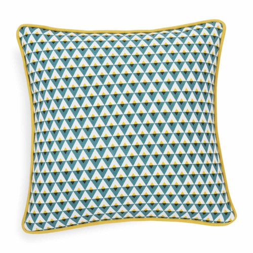 Housse de coussin en coton bleu HILTON   Maisons du Monde