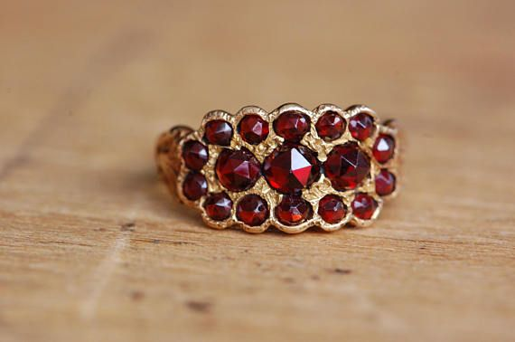 Antique Victorian bohemian garnet dress ring with engraved