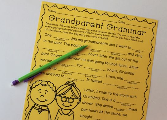 Ideas of Grandparents Day: Grammar, Reading Comprehension, and All About Grandparents Activities