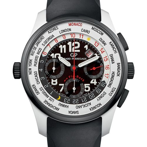 Girard-Perregaux's contribution to this year's Only Watch auction is a unique version of their worldwide time control model that uses a material not previously seen in watchmaking, titanium oxide. The lightweight watch-middle of titanium oxide complements the complex system of components that include a 450-part movement that includes a fly-back chronograph, a smoked sapphire crystal case-back, and a bezel in black ceramic.