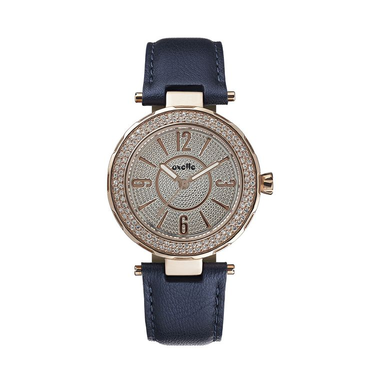 Oxette Deep Purple Couture Watch with leather band - Available here  http://www.oxette.gr/rologia/s.steel-iprg-watch-2row-stones-blue-strap-oxette-657l-1/  #oxette #OXETTEwatch #watches