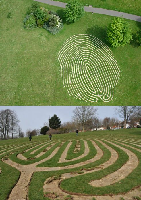 'Fingermaze' in Hove Park: a piece of public sculpture carved into the park and lined with stone and lime mortar. The Fingermaze is a giant fingerprint which incorporates a Cretan labyrinth within it's whirling design.