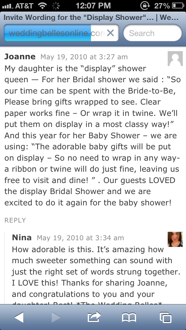 Cute wording for no-wrapping shower (more ideas when you click the link)