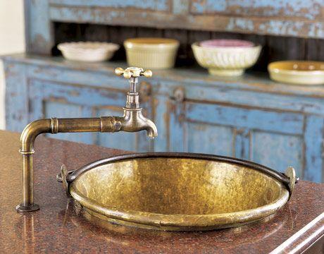 Brass-Bucket-Sink-HTOURS0206-deWet Bar, Kitchens Design, Country Living, Wetbar, Faucets, Brass Buckets, Buckets Sinks, Vintage Finding, Kitchens Sinks