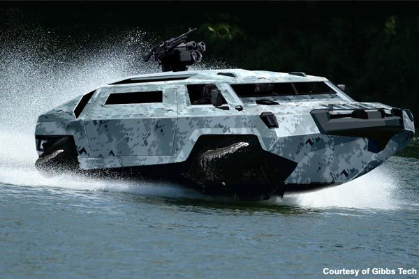 Amphibious vehicle - capable of speeds up to 45mph on the water and 80mph on land .. for more images visit  http://www.army-technology.com/features/feature2020/
