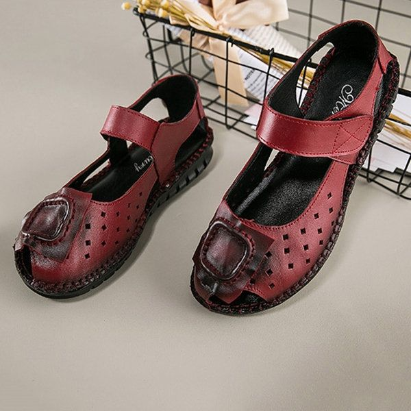 4689cf7b5 US 23.51 - SOCOFY Handmade Peep Toe Genuine Leather Retro Original Flat  Sandals