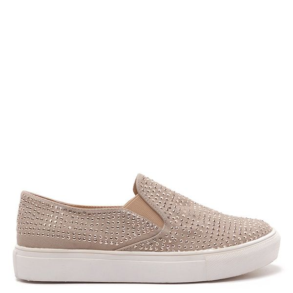 Beige slip-on sneakers with white sole, decorated with gold crystals.