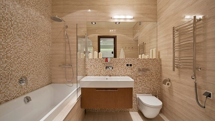 Бежевая плитка в ванной комнате