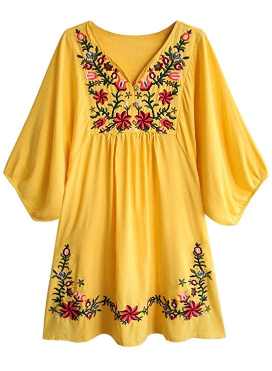 7bf347a5f35 Doballa Women s Floral Embroidery Mexican Tunic Top Bohemian Flowy Shift  Mini Blouse Dress at Amazon Women s Clothing store