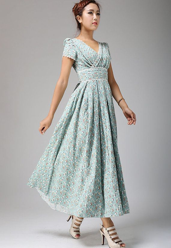 Floral maxi linen dress, floral prom dress, linen dress, bridesmaid dress, woman dress, party dress, 50s dress, custom dress 0665
