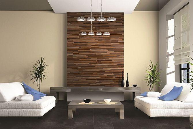Ściana wykończona panelami podłogowymi