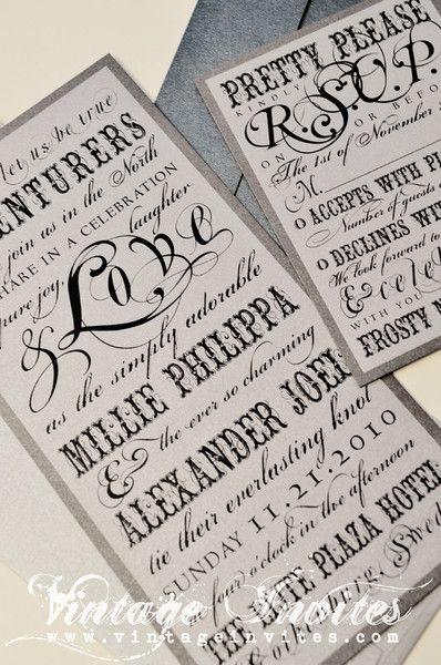 The Philippa - The Winter Edition- Vintage Wedding Invitation