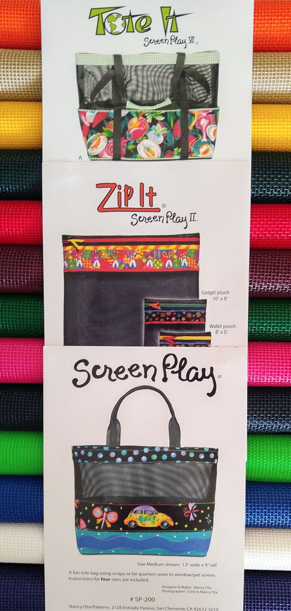 Screen Play Sewing Pattern By Nancy Ota Tote Bag Pattern Mesh Tote Bag Zipper Tote Bag