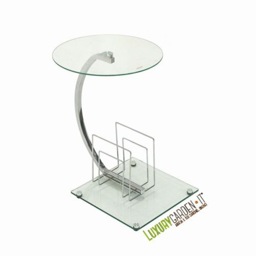 Tavolino-portariviste moderno di design con struttura in acciaio, e base e piano d'appoggio in vetro