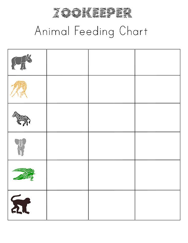 Printable Zookeeper sheets for pretend play
