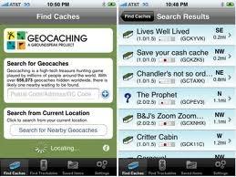 Geocashing - results menu