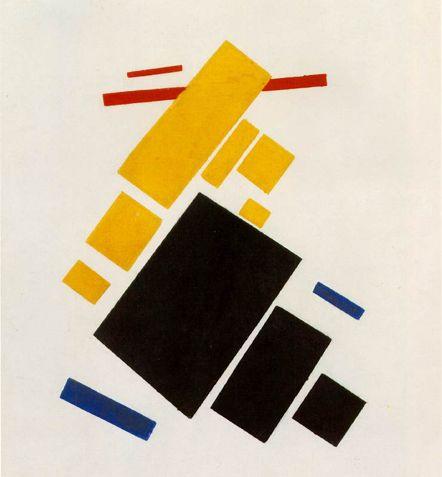 Kazimir Malevich - 날으는 비행기 (1915) 구성주의  검정 파랑 노랑 빨강의 사각형으로 이루어진 구조이지만 입체적으로 표현했을때 그 질감과 높이등을 다양하게 한다면 충분히 매력적으로 보일수있다고 생각했다.