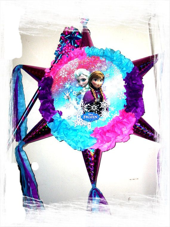 Frozen Pinata - Large on Etsy, $28.00 I think I can diy this the pic I can print or use a decorative paper plate (: