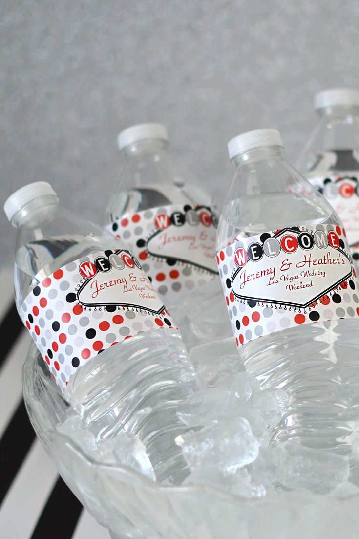 Welcome guests to your Las Vegas wedding in style by dressing up plain water bottles with marquee water bottle labels personalized with up to three lines of custom print in the lettering style of your choice. These waterproof, vinyl, self-adhesive water bottle labels can be ordered at http://myweddingreceptionideas.com/marquee-personalized-water-bottle-labels.asp