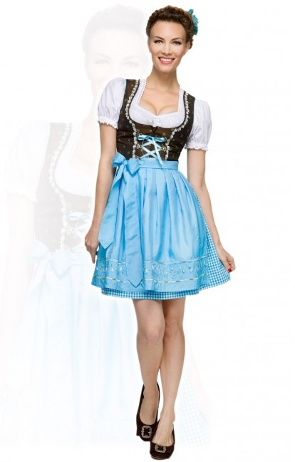 German short mini dirndl dress 3pcs. Pippa turquoise 50cm