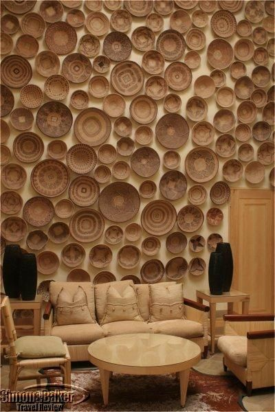 Wall of baskets in the Saxon Hotel, Johannesburg
