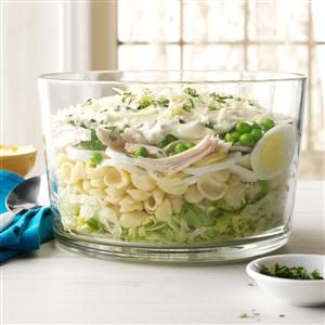Make-Ahead Hearty Six-Layer Salad Recipe -This salad is an all-time favorite. I reach for the recipe whenever I need a dish to pass. It's easy to make, can be assembled ahead of time and looks great. —Noreen Meyer, Madison, Wisconsin