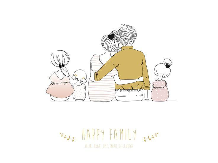 Votre jolie famille s'affiche fièrement aux murs de votre maison grâce à l'affiche Lovely Family3enfants. #family #deco #poster