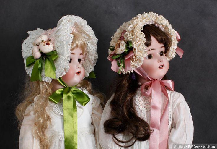 """Боннеты """"Белые розы, белые розы..."""" / Антикварные куклы, реплики / Шопик. Продать купить куклу / Бэйбики. Куклы фото. Одежда для кукол"""