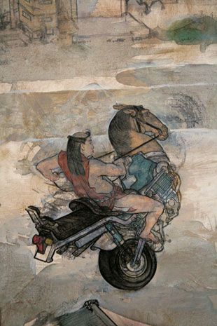 Akira Yamaguchi, The Nine Aspects (detail), 2003, canvas, oil, 73 x 244cm