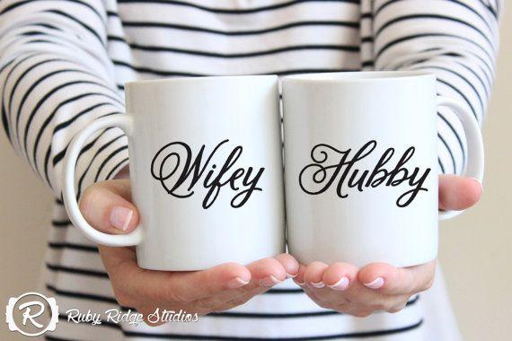 Wifey and Hubby Couple Mugs, Couple Gift, Coffee Lovers Mug, Calligraphy Quote Mug, Wedding Gift Mug, Custom Coffee Cup, Under 50