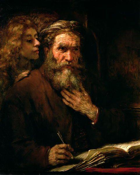 St Matthew and The Angel, Rembrandt van Rijn. Dutch Baroque Era Painter (1606 - 1669)