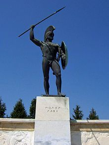 """Molon labe - """"Come and get"""" or """"Come and take"""".  It was an expression of defiance reportedly spoken by King Leonidas I in response to the Persian army's demand that the Greeks surrender their weapons at the Battle of Thermopylae. It is an exemplary use of a laconic phrase.  As they say, brevity is the soul of wit."""