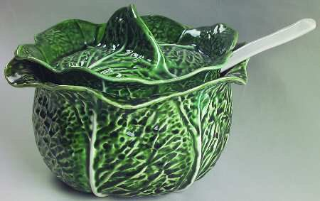 Earthy Pottery By SECLA Portugual Majolica Green CABBAGE LEAF Covered Soup Tureen & Ladle, c1970's offered by HalfPennyBoutique, $229.95  https://www.etsy.com/listing/121067065/earthy-pottery-by-secla-portugual