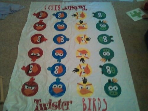 Angry Birds Twister -- I found the angry bird faces online and my kids cut them out and added them to a twister game for our 10yo son's birthday party tomorrow.