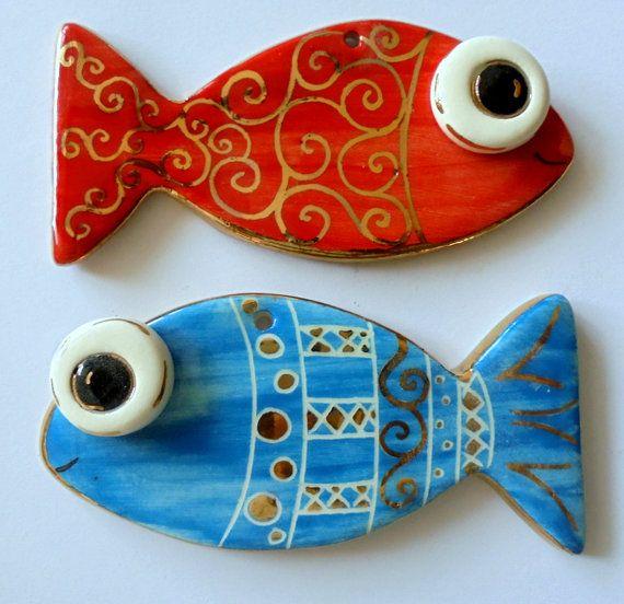 Handmade ceramic fish wall home decor by eudoxiahandmade on Etsy
